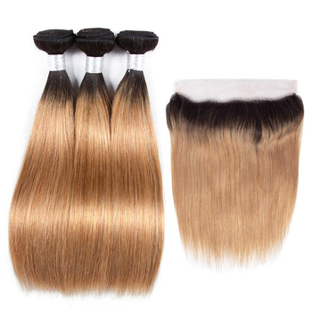Vvwig Super Soft 1B 27 Ombre Hair Peruvian Straight Hair 3 Bundles With Frontal 13*4 Inch Lace Shedding Free Tangle Free